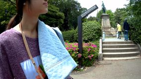 Tourists are walking in Ueno park. stock footage
