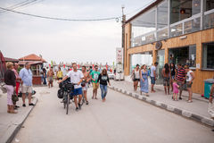 Tourists walking in Vama Veche Stock Image