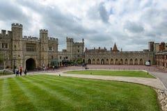 Tourists walking through Windsor Castle grounds Stock Photos