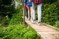 Tourists walking on a wooden bridge. Royalty Free Stock Photos