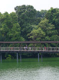 Tourists walking on wooden bridge Stock Photography