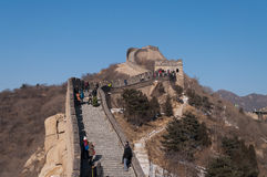 Tourists walkl on the Badaling section of the Great Wall in Beij Royalty Free Stock Photos