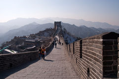 Tourists walkl on the Badaling section of the Great Wall in Beij Stock Images