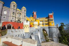 Tourists walks and take pictures in the Pena palace of Sintra