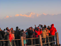 Tourists on walkway in Darjeeling Stock Image