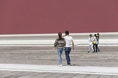 Tourists on a walkway in Palace Museum, Beijing, China Royalty Free Stock Image