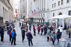 Tourists on Wall Street Royalty Free Stock Photo
