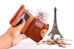 Tourists wallet Euros - Europe Royalty Free Stock Photo
