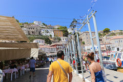 Tourists walling in Hydra island, Greece Royalty Free Stock Photos