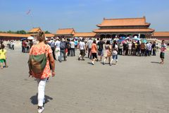 Tourists within the walls of the Forbidden Palace, Beijing, Chin Royalty Free Stock Photo