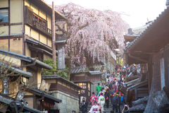 Tourists wander a famous street, Sannen-Zaka, in Kyoto Stock Photos