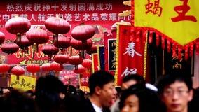 Tourists in Wangfujing Snack Street in Beijing stock video