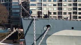 Tourists on war ship in London