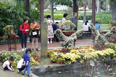 Tourists watch chry, adobe rgb stock image