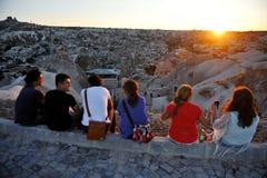 Tourists watch sunset over Cappadocia Royalty Free Stock Photo