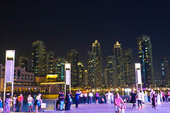 Tourists watching fountain show Stock Photo
