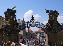 Tourists watching at the  Guard Ceremony at Prague Castle Royalty Free Stock Image