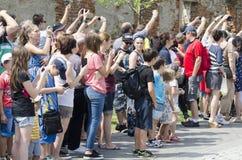 Tourists watching the guard change in Alba Iulia, Romania Stock Photo
