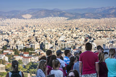 Tourists watching panorama of Athens in Greece Royalty Free Stock Photography