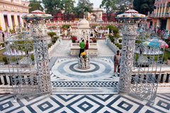 Tourists watch the sculptures outdoor Jain Temple Royalty Free Stock Images