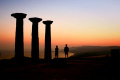 Tourists Watching The Sunset At The Athena Temple Stock Image