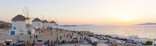 Tourists watching the sunset in Mykonos,Greece Stock Image