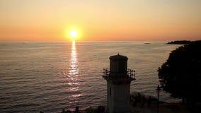 Tourists watching sunset in Rovinj stock video