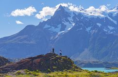 Tourists in Torres del Paine, Patagonia, Chile stock images