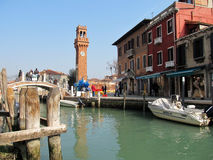 Tourists on a water canal in Venice, Italy Royalty Free Stock Photos