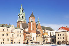 Tourists at the Wawel Castle complex Stock Photo