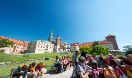 Tourists in Wawel castle in Krakow, Poland. Royalty Free Stock Photos