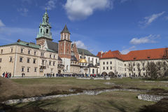 Tourists on Wawel Hill before  Wawel Cathedral, Krakow, Poland Stock Photo