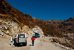 Tourists on the way to Nathula pass Royalty Free Stock Photo
