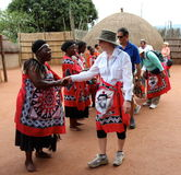 Tourists are welcome. Swaziland village with traditional show for tourists Royalty Free Stock Image