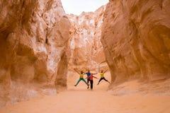 Tourists in White canyon, Sinai, Egypt Royalty Free Stock Photos