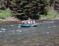 Tourists white-water rafting in idaho royalty free stock image