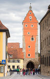 Tourists at Woernitz Gate in Dinkelsbuehl Royalty Free Stock Photos