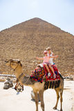Tourists woman and girl are riding a camel in the background of the pyramids in Egypt Royalty Free Stock Photography