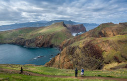 Tourists at wonderful hiking path in the mountains of Madeira. Stock Image
