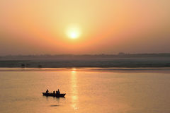 Tourists on wooden boats at Ganges river in Varanasi, India Royalty Free Stock Photography