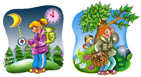 Tourists in the woods. Funny cartoon scenes illustrating how to hit the right path in the woods vector illustration