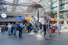 Tourists and workers are shopping and traveling at the central station of Berlin Stock Images