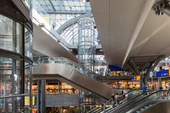 Tourists and workers are shopping and traveling at the central station of Berlin Royalty Free Stock Photography