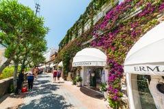 Tourists in world famous via Camerelle. Capri, Italy - May 25, 2018: Tourists in world famous via Camerelle stock photo
