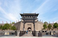 Tourists at the Xi`an city wall south gate in summer royalty free stock images
