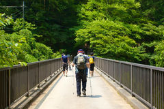 Tourists. YAMANASHI, JAPAN-JUL.30, 2012: Some tourists are walking on a bridge in the mountain area near the Mt. Fuji of Yamanashi, Japan Royalty Free Stock Photography