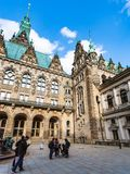 Tourists in yard of Hamburger Rathaus Town Hall Stock Photos