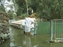 Tourists in The Yardenit Baptismal Site near Bet Yerah, Israel Royalty Free Stock Photos