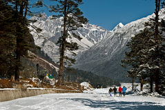 Tourists at Yumthang Valley. A group of tourists are roaming around the snow filled Yumthang Valley in Sikkim, India at the winter time and enjoying the beauty Stock Photos