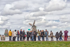 Tourists in Zaanse Schans, Netherlands Royalty Free Stock Photography